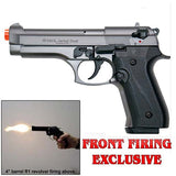(FREE 25 RDS OF AMMO) EKOL Jackal Dual Magnum Fume - Full Auto Front Fire 9mm Blank Firing Guns