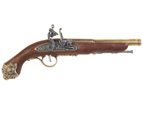 Denix Colonial 18th Century Flintlock Pistol - Non-Firing Replica Gun - Brass