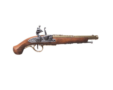 Denix Colonial 18th Century Engraved Flintlock Pistol - Brass - Non-Firing Replica Gun