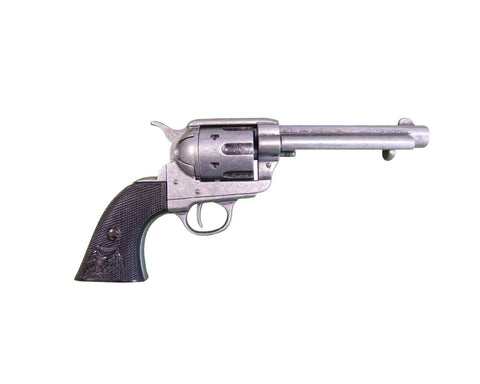 Denix - Old West M1873 Antique Grey Black Grip Revolver - Non-Firing Replica Gun