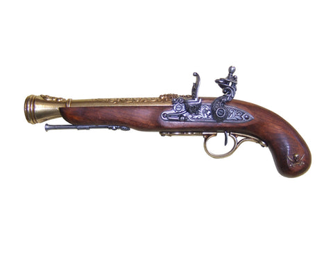 Denix Left-Handed Pirate Flintlock Blunderbuss Brass Finish - Non-Firing Replica Gun