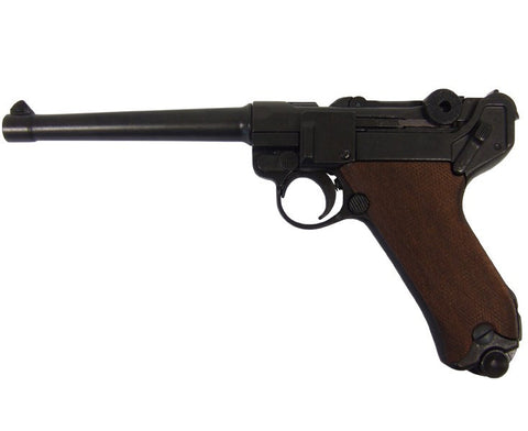 Denix Replica German Luger Naval Parabellum P-08 WWI - WWII Non-Firing Replica (Wood Grips, Not Resin)