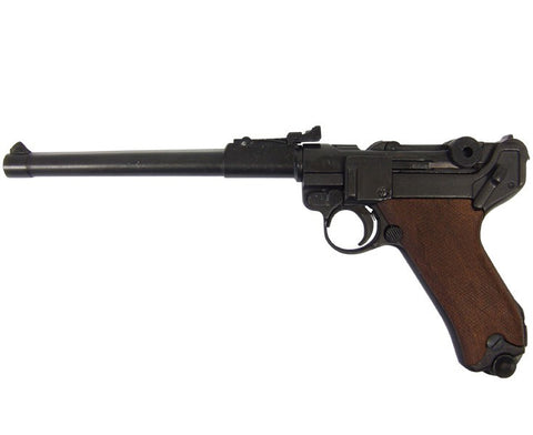 Denix Replica German Luger Lange Pistol 08 Artillery Model Non-Firing Replica (Wood Grips, Not Resin)