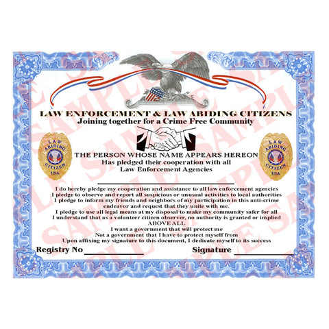 Law Abiding Citizen Certificate - MaxArmory