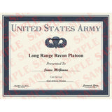US Army Long Range Recon Platoon Certificate