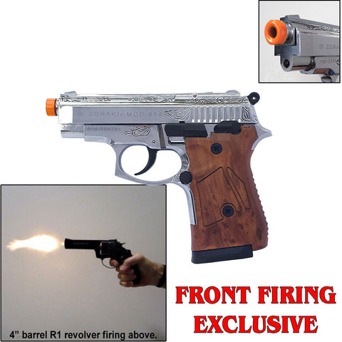 Zoraki M914 Chrome Engraved Machine Pistol - 9mm Front Firing Blank Gun - Includes 25 Rounds of 9mm PA Ammo - MaxArmory
