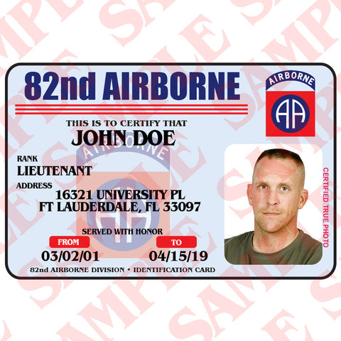 82nd Airborne ID Card
