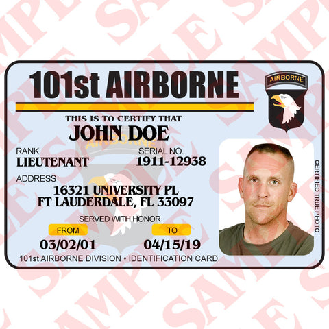 101st Airborne ID Card