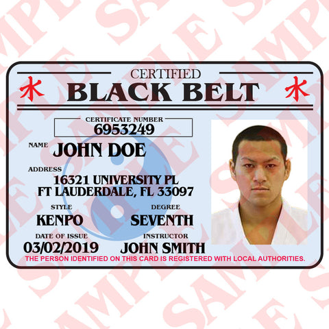 Certified Black Belt ID Card
