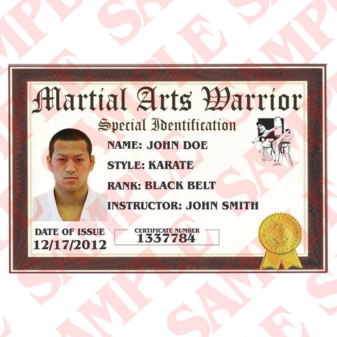 Certified Martial Arts Warrior ID Card