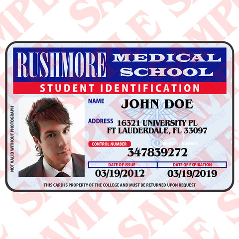 Rushmore Medical School Student ID - MaxArmory