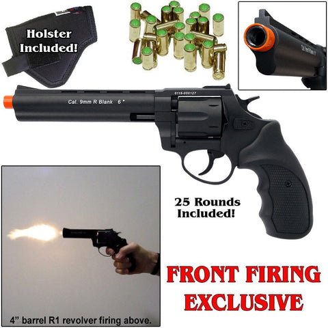 Zoraki R1 Black 6'' Barrel - Blank Front Firing Gun Revolver Set - Includes 25 Rounds of .380 9mm Ammo & Holster