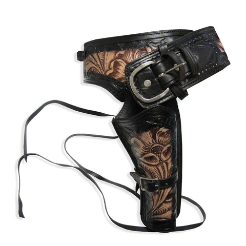 Leather Western Holster - Two-Tone Black - Single Rig, Size 35, Caliber 38-357 - MaxArmory