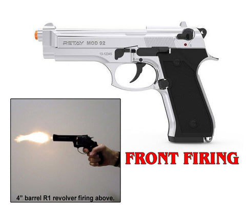 RETAY 9MM MOD 92 FRONT FIRING BLANK GUN NICKEL FINISH