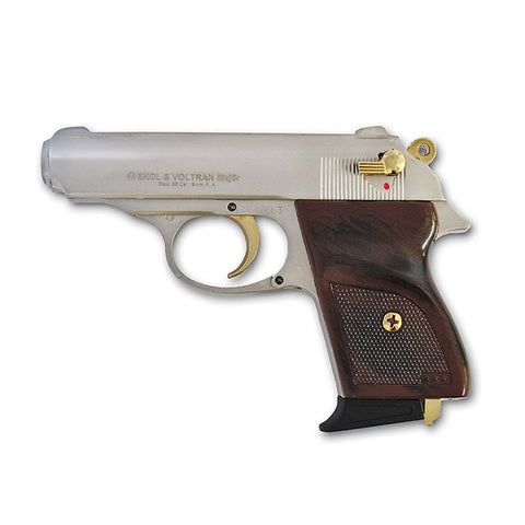 EKOL MVP Nickel with Gold Fittings - Top Firing Blank Replica Gun -INCLUDES 25 RDS OF AMMO