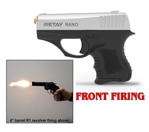 RETAY NANO 8MM MODEL FRONT FIRING BLANK GUN NICKEL FINISH