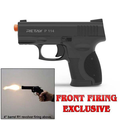 (FREE 25 RDS OF AMMO) RETAY P114 SHARK Black - Front Fire 9mm Blank Firing Gun