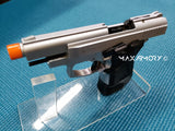 Zoraki M914 Nickel Machine Pistol - 9mm Front Firing Blank Gun - MaxArmory
