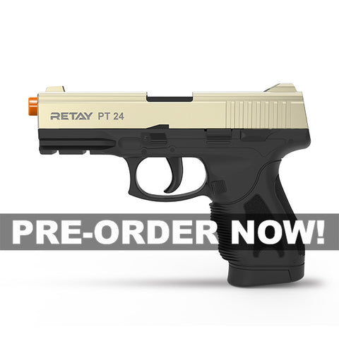 (FREE 25 RDS OF AMMO - OUT OF STOCK - PRE-ORDER NOW!) RETAY PT24 EXTREME Satin - Front Fire 9mm Blank Firing Gun