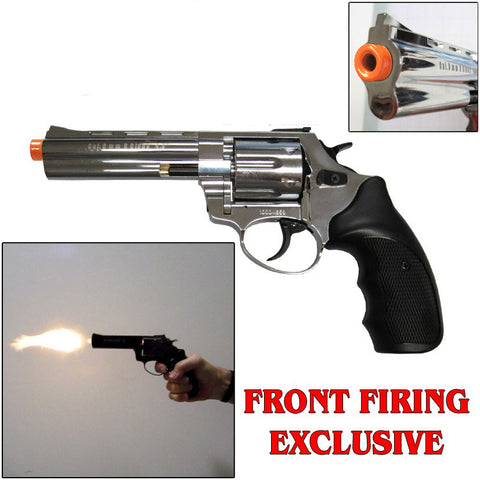 "Zoraki R1 Chrome 4.5"" Barrel - Blank Firing Revolver - INCLUDES FREE TRAINING GUN"