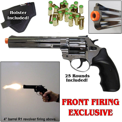 Zoraki R1 Chrome 6'' Barrel - Blank Front Firing Gun Revolver Set