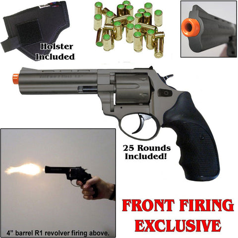 "Zoraki R1 Fume 4.5"" Barrel - Blank Front Firing Gun Revolver Set - Includes 25 Rounds of .380 9mm Ammo & Holste"