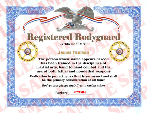 Registered Bodyguard Certificate - MaxArmory