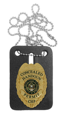 435 Concealed Handgun Permit Mini Badge (with FREE Neck Chain Badge Holder)
