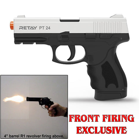 (FREE 25 RDS OF AMMO) RETAY PT24 EXTREME Chrome - Front Fire 9mm Blank Firing Gun