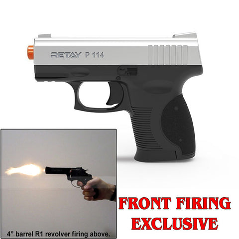 RETAY P114 SHARK Chrome - Front Firing 9mm Blank Gun