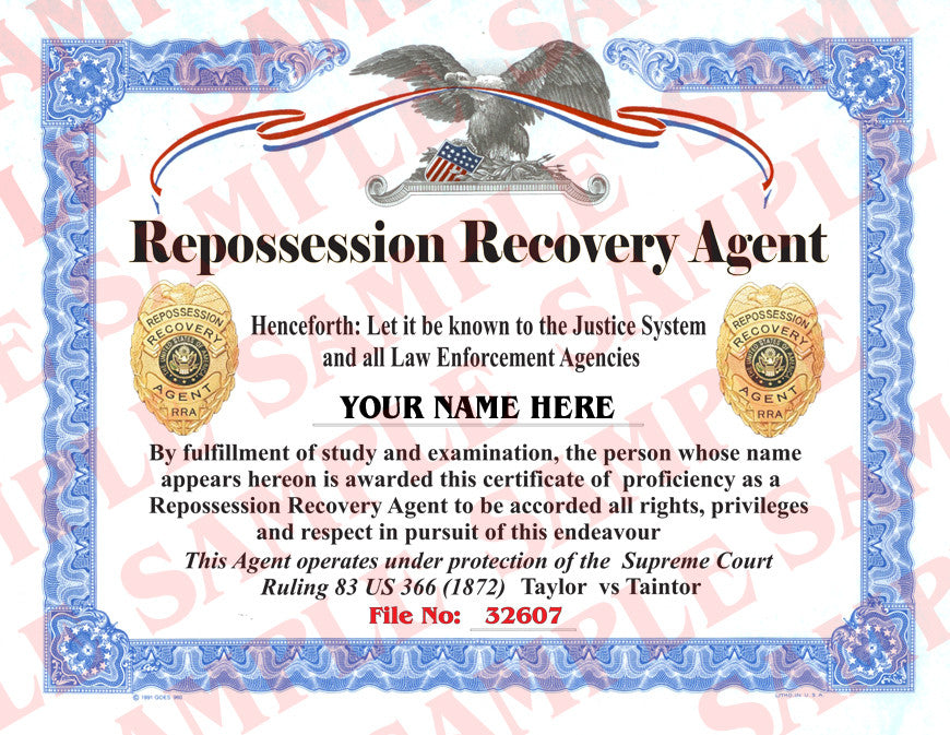 Repossession Recovery Agent Certificate Maxarmory
