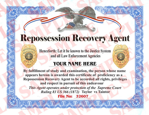 Repossession Recovery Agent Certificate