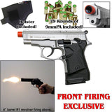 Zoraki 914 Nickel - Full Auto Front Fire 9mm Blank Firing Gun Set - Includes 25 Rounds & Holster