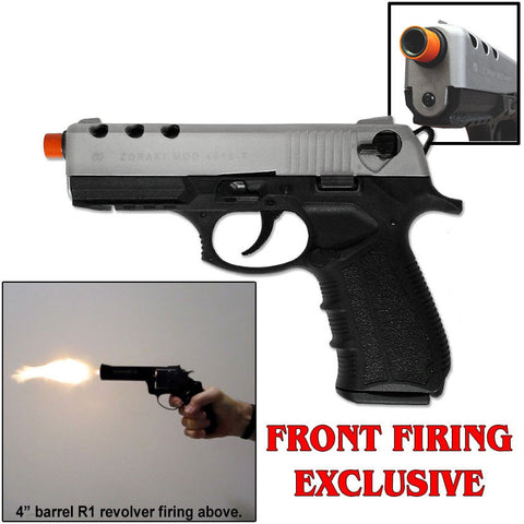 Zoraki M4918 Nickel - Front Firing BlankGun - INCLUDES FREE TRAINING GUN - MaxArmory