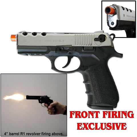 Zoraki M4918 Chrome - Front Firing Blank Gun - INCLUDES FREE TRAINING GUN - MaxArmory