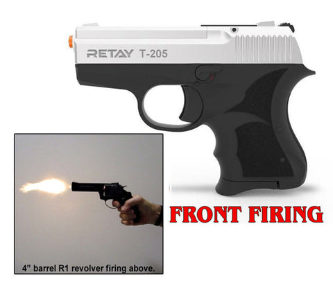 RETAY T205 MODEL 8MM FRONT FIRING BLANK GUN NICKEL FINISH