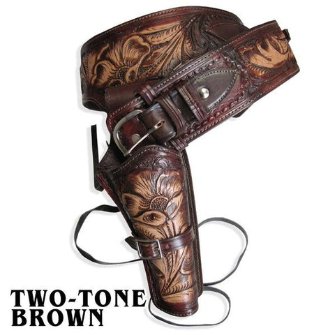 Leather Western Holster - Two-Tone Brown - Single Rig, Size 42, Caliber 44-45