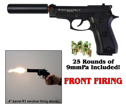V85 REV2 BLACK W/ FAKE SUPPRESSOR - BLANK FRONT FIRING REPLICA GUN