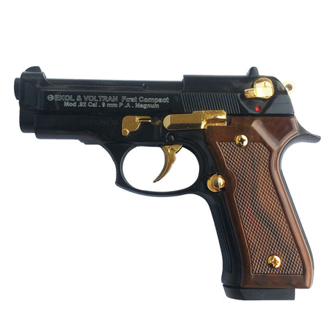 EKOL V92F Compact Black with Gold Fittings - Top Firing Blank Replica Gun