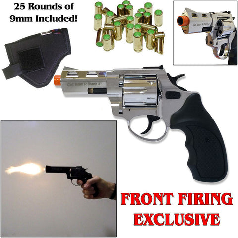 "Zoraki RX2 Chrome 3"" Barrel - Blank Front Firing Gun Revolver Set - Includes 25 Rounds of  .380 9mm Ammo & Holster"