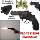 "Zoraki RX2 Black 3"" Barrel - Blank Front Firing Gun Revolver Set - Includes 25 Rounds of .380 9mm Ammo & Holster"