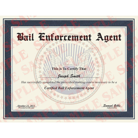 Bail Enforcement Agent Certificate - Version 2 - MaxArmory