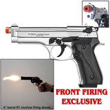 EKOL VOLTRAN Jackal Dual Magnum Chrome Finish- 9mm Full Auto Front Firing Blank Machine Gun Pistol