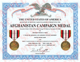 Afghanistan Campaign Medal Certificate - MaxArmory