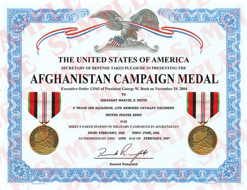 Afghanistan Campaign Medal Certificate