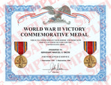 World War II Victory Commemorative Medal Certificate - MaxArmory