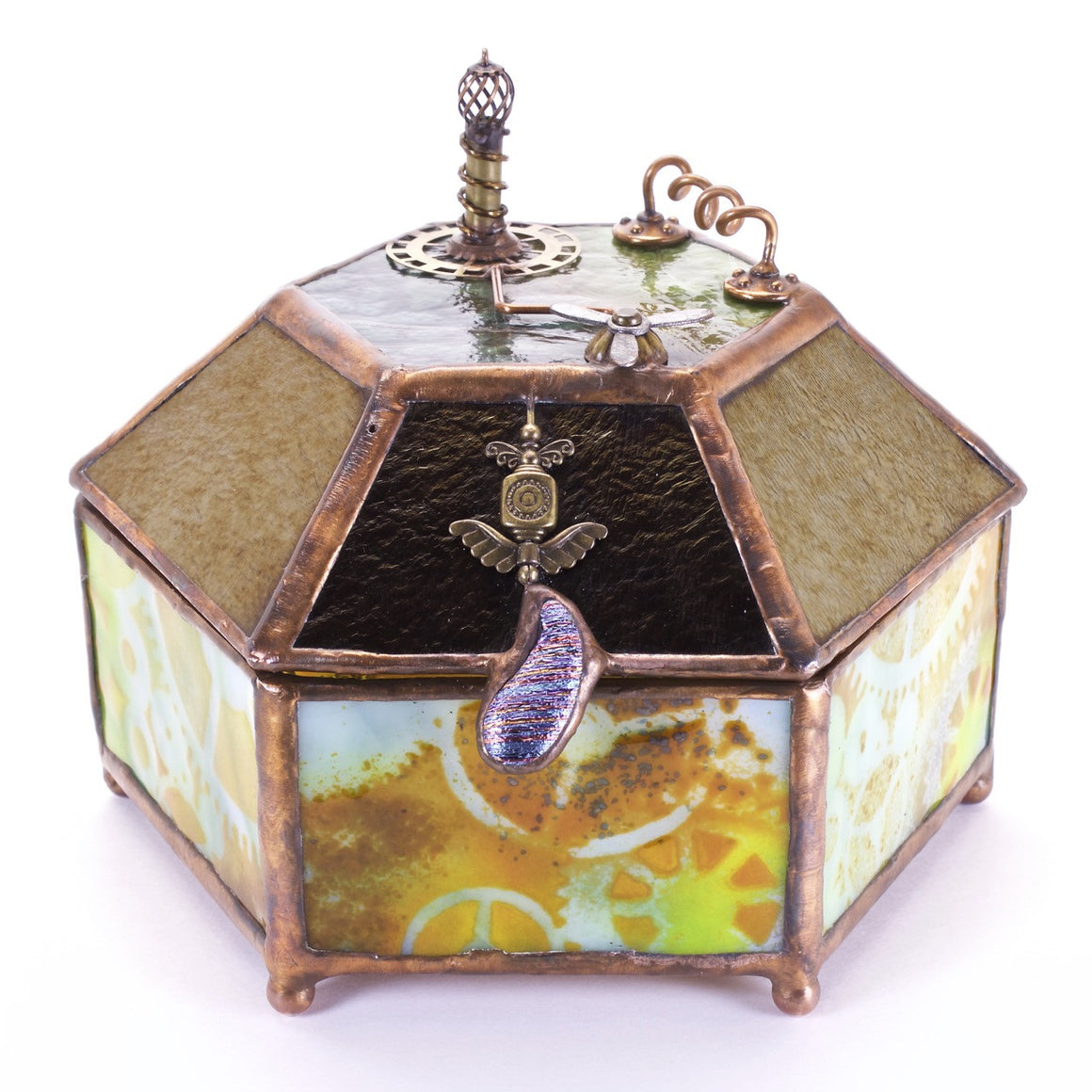 Steampunk fused glass box - Dawn Donati