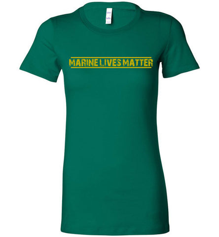 Marine Lives Matter (in Yellow) - Women's Tee by TroopsLivesMatter.com