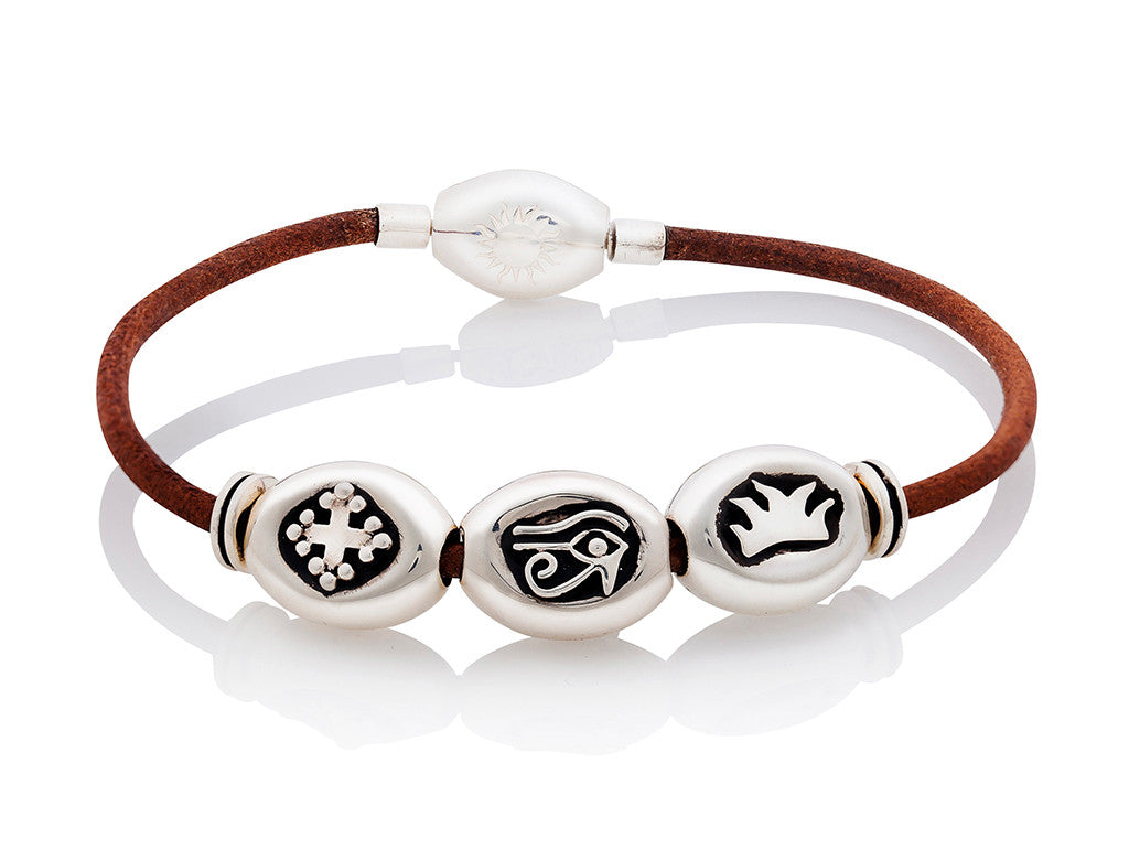 Silver Classic Bracelet on Tan Leather - Large Charms
