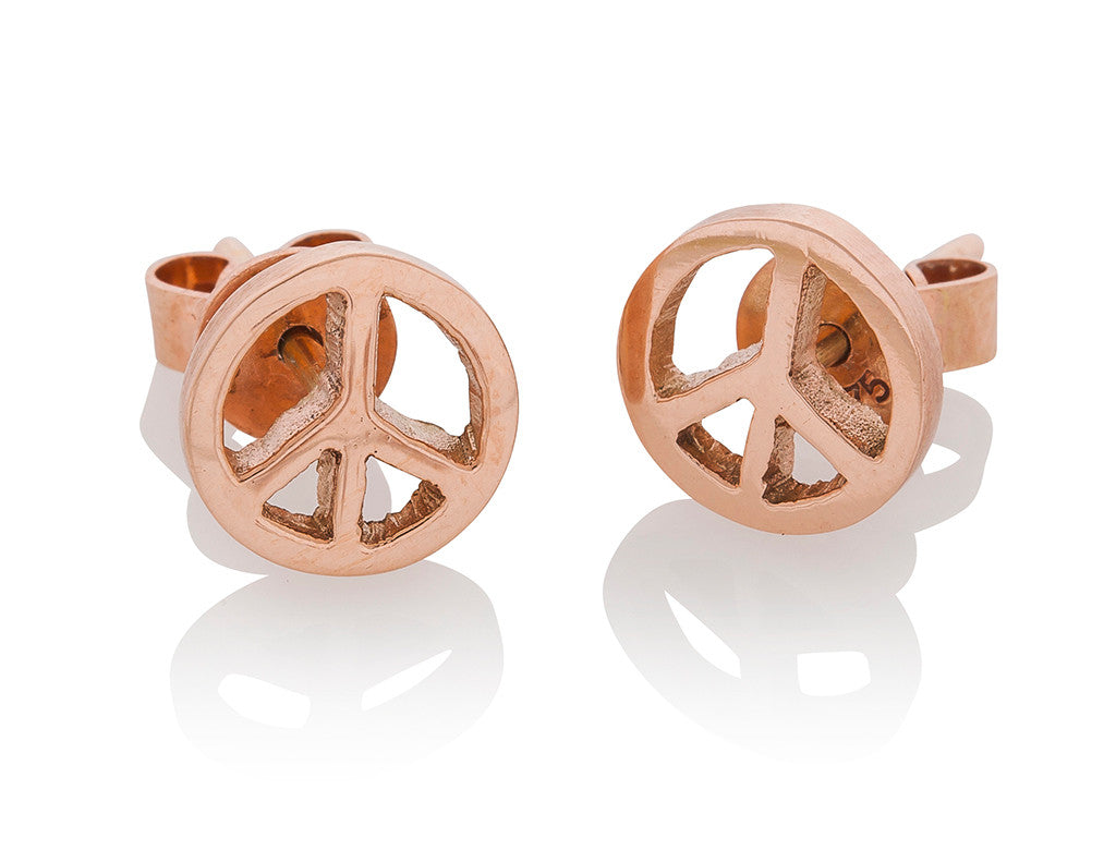 Rose Gold Peace Earrings